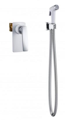 Смеситель встроенный с гигиеническим душем Timo Helmi 4089/00-16SM хром-белый